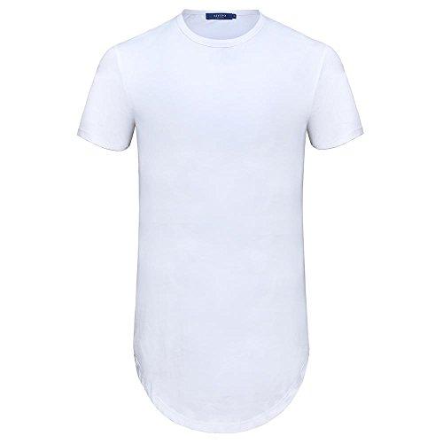 AIYINO Herren T-Shirt mit Rundhalsausschnitt 100% Baumwolle Long Shaped Side Zip Tee 3XL Weiß