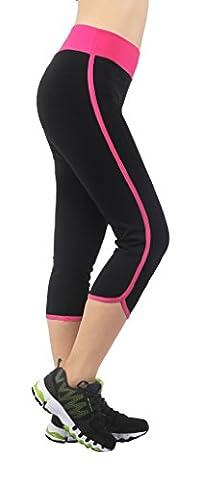 4How® Femme Pantacourt Corsaire Cuissard legging de sport 3/4 Noir&Fushia Taille XL