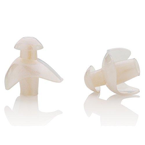 KONA81 Barracuda Tapones para los oídos para natación Silicona Resistente al cloro Impermeable Blando Flexible Adulto Hombre y Mujer Niño Chico E0170 (Blanco/Azul)