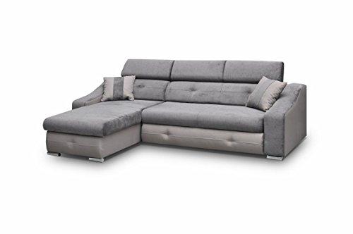 Ecksofa Sofa Eckcouch Couch mit Schlaffunktion und Bettkasten Ottomane L-Form Schlafsofa Bettsofa Polstergarnitur - APOLLO (Ecksofa Links, Grau)