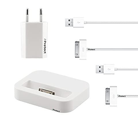 Original iProtect® 4in1 Set mit 2 USB Datenkabel Dockingstation u Netzteil weiß für iPhone u iPod 4S 4 3GS Touch Nano 3G 2G Photo Mini