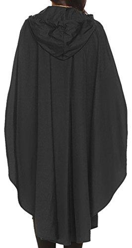 Damen Mantel Regenjacke Regenponcho Polka Dots Radjacke Raincoat Outdoorjacke mit Kapuze Outdoor Wasserdicht Schwarz