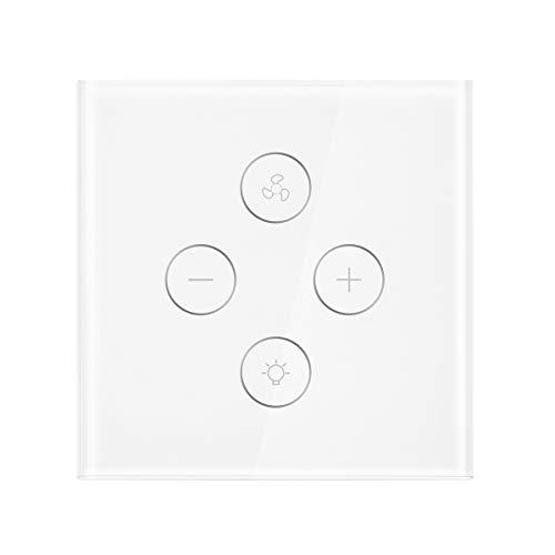 WIFI Ventilator Lichtschalter, FORNORM Smart Deckenventilator Licht Ventilator Wandschalter SmartLife APP Fernbedienung, Kompatibel mit Alexa/Google Home/IFTTT, 2,4 GHz Timer für iOS Android -