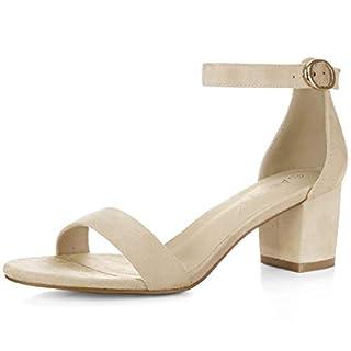 Allegra K Damen offene Zehen mittlere Blockabsatz Knöchel-Riemen Sandalen Beige 37 EU/Label Size 7 US