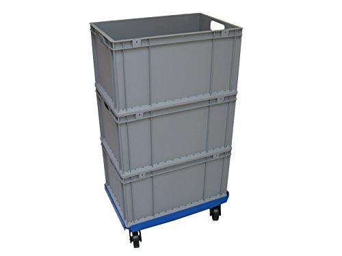 1 Transportroller und 3 Boxen 600x400 mm im Set, blauer PP Gitter-Rahmen 4x Kunststoff-Lenkrolle PP Räder ø 100mm in schwarz (Rollwagen Gitter)