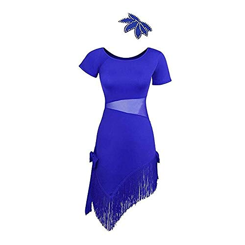 ar kurzarm fransen quaste flapper dance kleider rhythm salsa tango ballroom dance kostüme praxis leistung tanzen dress Gatsby Kostüm Kleid ( Farbe : Blau , Größe : L ) ()