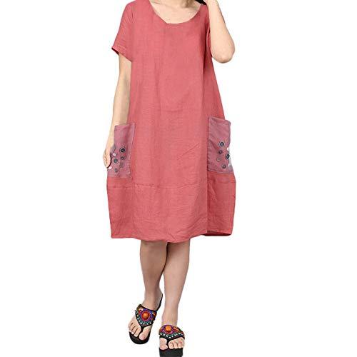 FeiXing158 2019 Sommer Frauen Kleid Knopf lose Kurzarm Stickerei Bequeme Baumwolle und Leinen Kleid Plus Größe 2XL Frauen Kleidung-in Kleider (Mickey Mouse-mini-cutter)