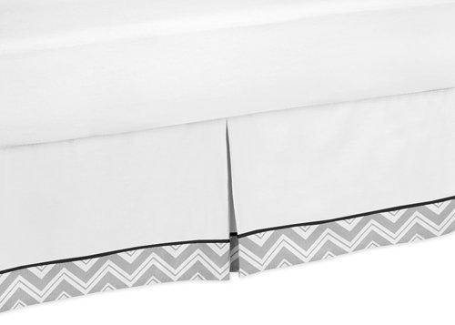 Schwarz und Grau Zig Zag Bett Rock für Kinderbett und Kleinkind Betten Sets by Sweet Jojo Designs (Kleinkind-bett Schwarze Rock)