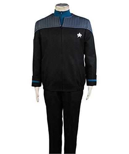 Kostüm Trek Star Uniform - MingoTor Star Trek NEM Nemesis Voyager Captain Sisko Blau Uniform Suit Outfit Cosplay Kostüm Herren XL