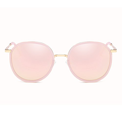 Cyxus Polarisierte Sonnenbrille Fahrradbrille mit UV400 Schutz für Damen Autofahren Laufen Radfahren Angeln Golf 1001 (Transparenter Rahmen/Rosa Linse)