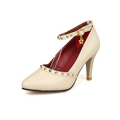 WSX&PLM Da donna-Tacchi-Matrimonio Casual Serata e festa-Comoda Cinturino alla caviglia-A stiletto-PU (Poliuretano)-Nero Rosso Bianco Tessuto white