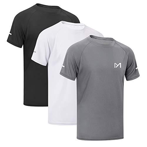MEETYOO Sportshirt Herren, Laufshirt Kurzarm T Shirts Männer Funktionsshirt Atmungsaktiv Fitnessshirt für Running Jogging Gym (Wander-lauf-t-shirt)