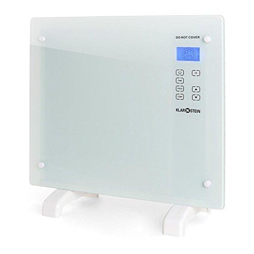 Klarstein HT006GL • Radiador eléctrico • Calefactor • Convector • 1000 W • Vidrio de Seguridad • Panel táctil LED • Varios Modos de Calor • Temporizador • Control Parental • Silencioso • Blanco