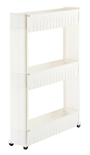 Orolay Kitchen Storage Cupboard with Casters Slide Out Cabinet Rack 3 Tiers ZZWJ40 (White)