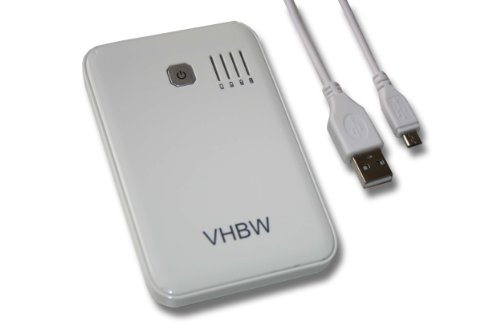 vhbw Powerbank mobiles Ladegerät Ladekabel Micro USB Akku 5000mAh weiß für Apple i-Phone iPhone 2G 3G 3Gs 4 4s 5 6 iPod touch iPad 1 2 3 4 mini.