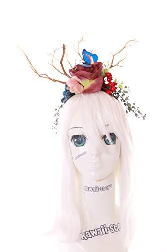 Kawaii-Story C-48 Äste Schmetterling Hexe Magie Fantasy Wald Fee Blumen Beeren Haarreif Kopfschmuck Gothic Lolita LARP