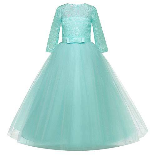 Kinder Mädchen Kleid Fünf Punkt Hülsen Kleid mit Spitze Gestickte Bögen Leistung Geburtstag Hochzeit Prinzessin Kleid Rock Kleid (Gestickte Trikot-kleid)