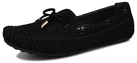 Fangsto Women's Suede Leather Loafer Flat Shoes UK Size 5 Black