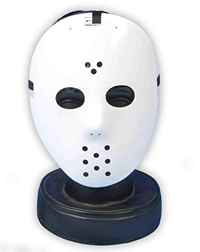(Lollipop Clothing Hockey Maske Weiß Jason Killer Halloween Friday 13. Kostüm Horror Sport Eminem - Hockey Maske, One Size)