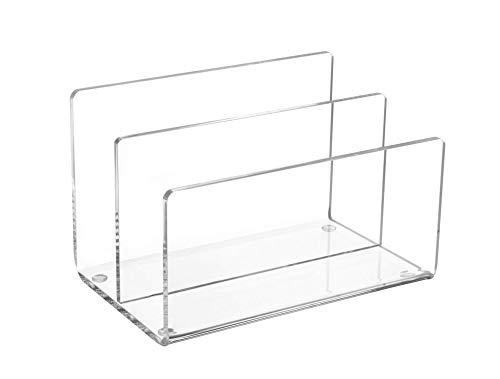 Maul Acryl Kartenständer, 2 gestufte Fächer, Eleganter Tischorganizer, Glasklar, 1952005 -