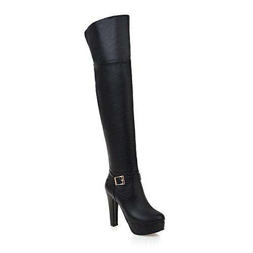 AllhqFashion Damen Blend-Materialien Hoher Absatz Rund Zehe Hoch-Spitze Stiefel Schwarz