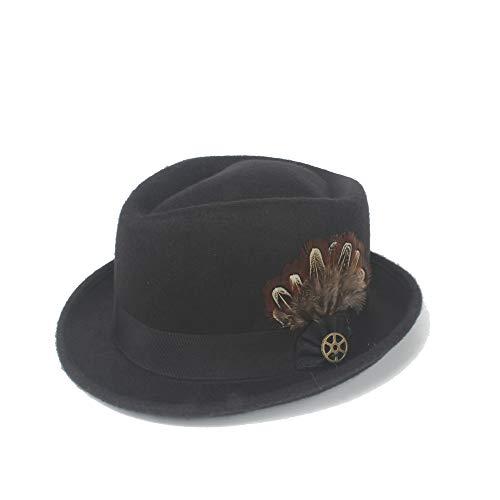 LLP-HAT Outdoor Fedora Hut Filz Wollfeder Metall Dekoration Panama Gangster Hut Jazz Knight Fashion Retro (Farbe : Schwarz, Größe : 56-58CM)