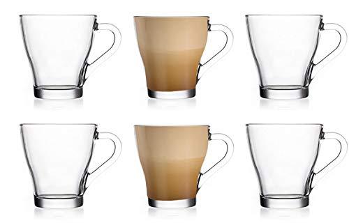 EVER RICH  Taza de café con té de Vidrio con Leche con Leche (para Tassimo y Dolce Gusto) Juego de 6 Vasos (250ML)