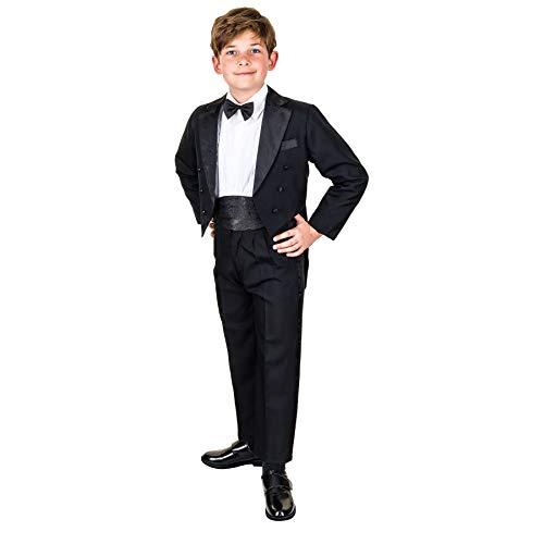 Festlicher 5tlg. Jungen Smoking in vielen Farben mit Hose, Hemd, Weste oder Kummerbund, Fliege und Jacke M314ksw Kummerbund Schwarz Gr. 1/74