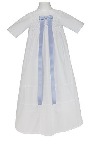 """Bateo Design Taufkleid """"Simon"""" mit hellblauer Schleife / Größe 74 / Festliche Taufbekleidung für Mädchen und Jungen geeignet / Aus 100 % Baumwolle gefertigt / Unisex"""