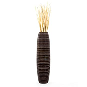 Leewadee Tall Big Floor Standing Vase For Home Decor 90 cm, Mango Wood, brown