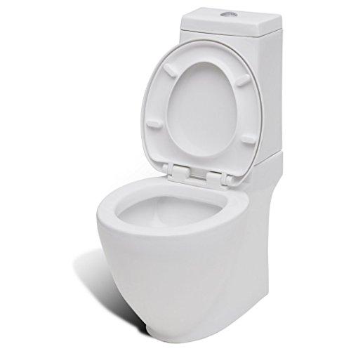 vidaXL Design Stand WC Bodenstehend Keramik Weiß Softclose WC-Sitz Toilette