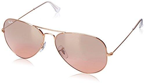 Ray-Ban - Aviator Large Metal, Occhiali da sole unisex, arista/crys.brown-pink silver mirror, 62 mm