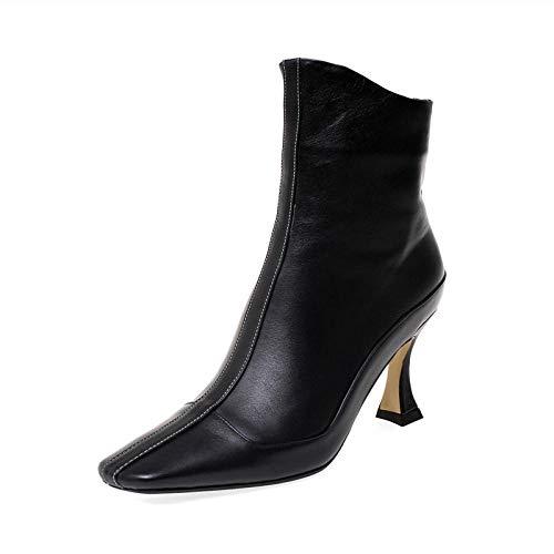 Damen Leder Booties,Schwarze Stiletto Ankle Boots Weiblichen High Heel Herbst Quadratischen Kopf Schaffell Weichen Fläche Stiefel @ 36 -