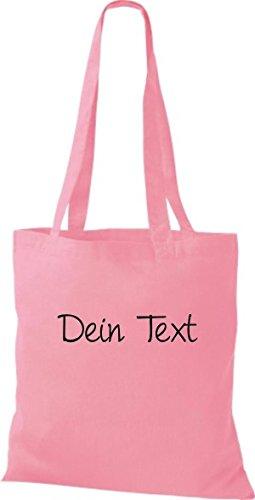 Shirtstown Stoffbeutel Baumwolltasche individuell mit deinem Wunschtext versehen viele Farben Rosa