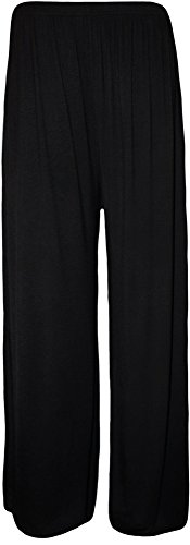 Plus Size Womens Plain Palazzo Wide Leg Flared Ladies Trousers Pants - 16-26