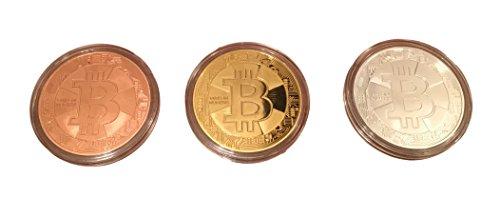 3er Set Bitcoin Münzen / Angreifbare Physische Physikalische Bitcoins – Dekomünzen Krypto-Muster BTC SET 40mm Gold, Silber & Kupfer farbig im Set – Mit SCHUTZKAPSEL