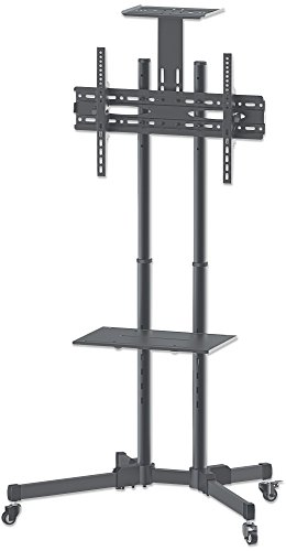 manhattan-461238universal-tv-stand-on-wheels-basic-line-for-70inch-37to-70inch-tv-black-silver