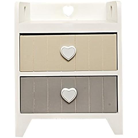 Rebecca Srl Comodino Mobiletto Cassettiera 2 Cassetti Ripiano Chiuso LOVE Legno Bianco Elegance Grigio Beige Camera Bagno (Cod. RE4375)