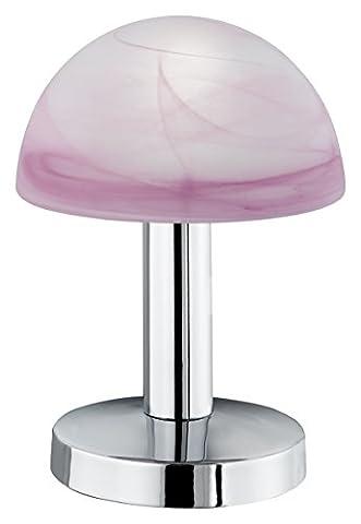 Trio-Leuchten 599000106 Tischleuchte in Chrom, Touch-Me-Funktion(4-fach schaltbar, 3 Helligskeitsstufen), Glas alabasterfarbig purple, exklusive 1xE14 max. 40W, Höhe 21 cm