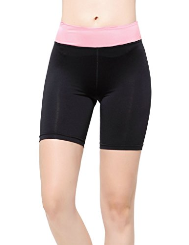 lotus-instyle-womens-fold-over-waistband-yoga-pants-workout-shorts-pink-m
