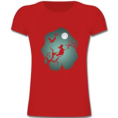 Anlässe Kinder - Hexe Mond Grusel Grün - 164 (14-15 Jahre) - Rot - F131K - Mädchen Kinder T-Shirt (Halloween-hexe Zauber Sprüche)