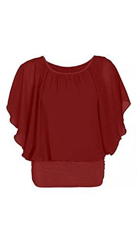 Damen Chiffon Overlay Baggy Batwing Shirt Top Wein