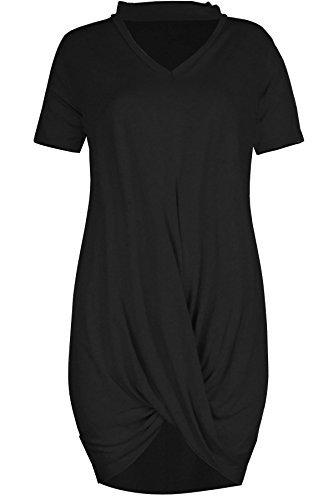 Oops Outlet Damen Twist drapiert Halsband V Ausschnitt überdimensional Schlüsselloch Schnitt T-Shirt Kleid TOP - Schwarz, M/L (UK 12/14) (Schlüsselloch-ausschnitt)