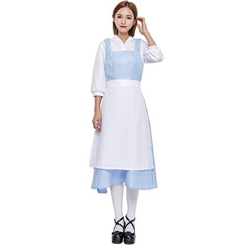FHSIANN Erwachsene Frauen Halloween Belle Maid Lang Weiß Ärmel Schürze Kleid Anzug Damen Phantasie BlauCosplay Bogen Outfit Für Mädchen Große (Belle Blau Kleid Kostüm Für Erwachsene)
