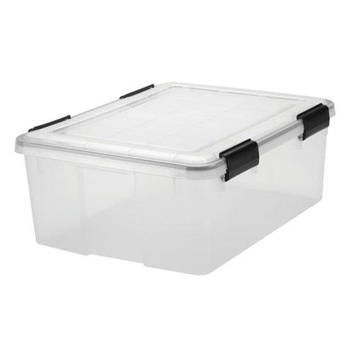 Mittelgroße Aufbewahrungsbox, 29Liter, wetterfest, luftdicht, transparent, Kunststoff, zur sicheren Aufbewahrung in feuchten Bereichen, 50cmx40cmx20cm, hermetisch versiegelter abnehmbarer Deckel, plastik, farblos, M