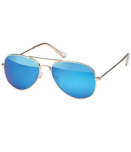 Caripe Kinder Mädchen Jungen Pilotenbrille verspiegelt Fliegerbrille Metall Sonnenbrille Retro - pil (One Size, 545 - gold - blau verspiegelt)