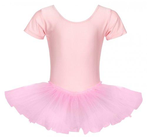 tanzmuster Kinder Ballett Trikot Ballettanzug Alina mit Tutu-Röckchen - Balletttutu aus 3-lagigem Tüll. Zauberhaftes Ballettkleid für Mädchen in Hellrosa, Größe:104/110