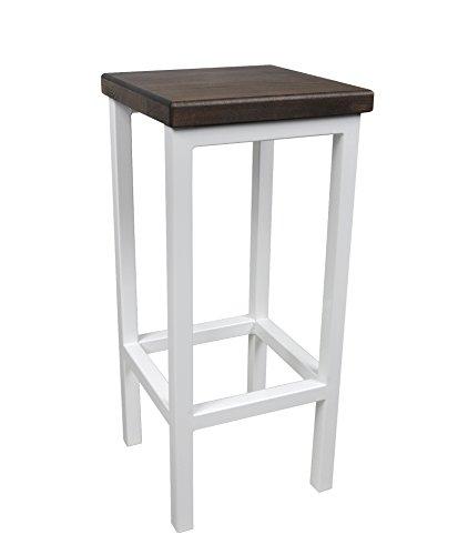 Barhocker Stahl Holz Stuhl massiv Barstuhl Weiß modernes Design Metall Hocker Loft (Nussbaum, 70 cm) (Metall Barhocker Nussbaum)