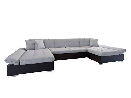 Mirjan24  Ecksofa Alia mit Regulierbare Armlehnen, 2 Bettkasten und Schlaffunktion, U-Form Eckcouch vom Hersteller, Sofa Couch Wohnlandschaft (Soft 011 + Bristol 2460)
