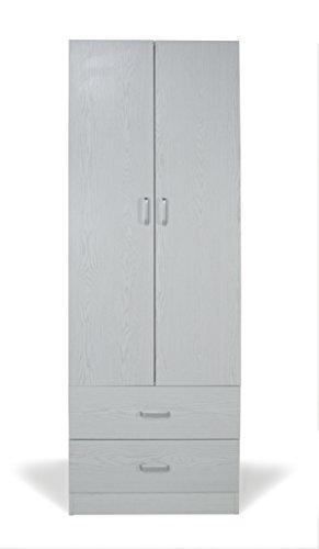 Trendyitalia 12984 armadio 2 ante rovere sbiancato, legno, bianco, 60 x 42 x 180 cm